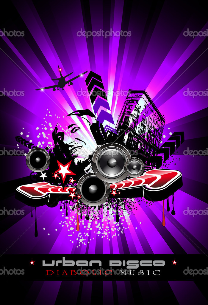 Music event background with crazy dj shape for disco flyers stock