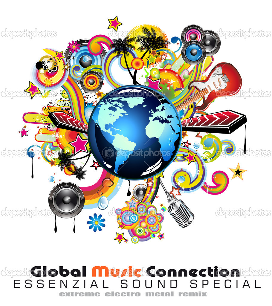 Global Music Event Abstract Background For Disco Flyers — Stock Vector #6766330