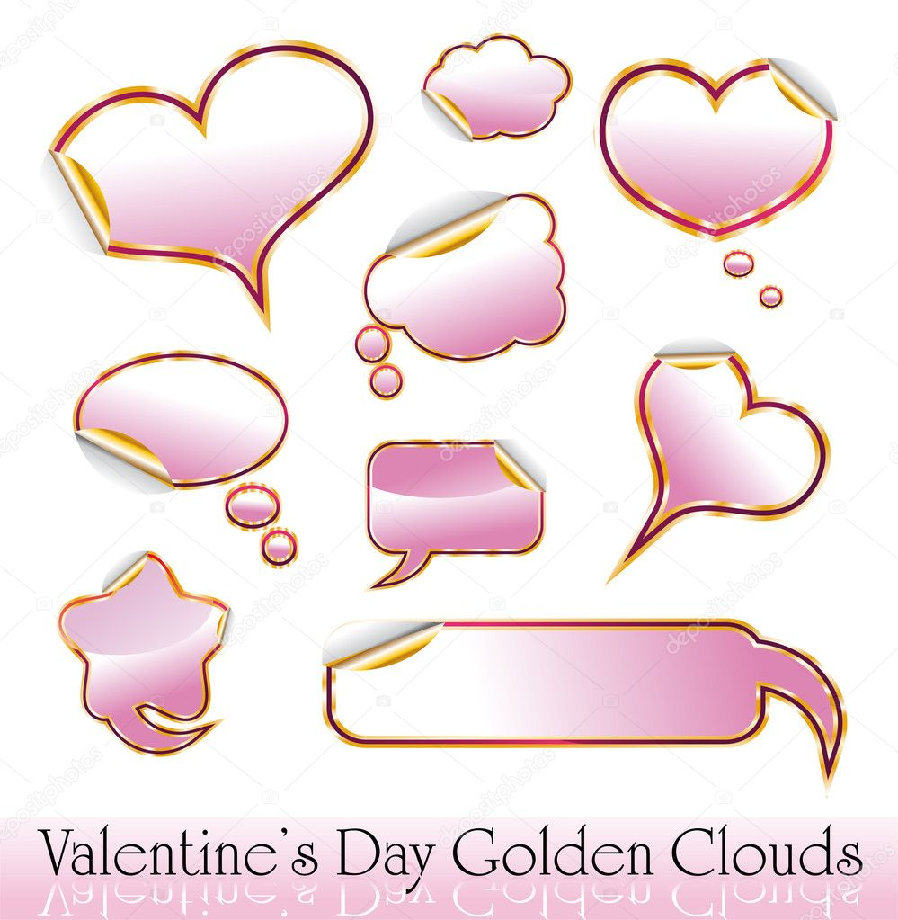 Set of Valentine's Day Red and Gold Hearts and Clouds stickers — Stock Vector #6766474