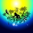 2012 New Year tropical music flyer — Stock Vector