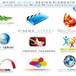 2D and 3D Design Element Collection with colorful Shiny Icons - Stock Vector