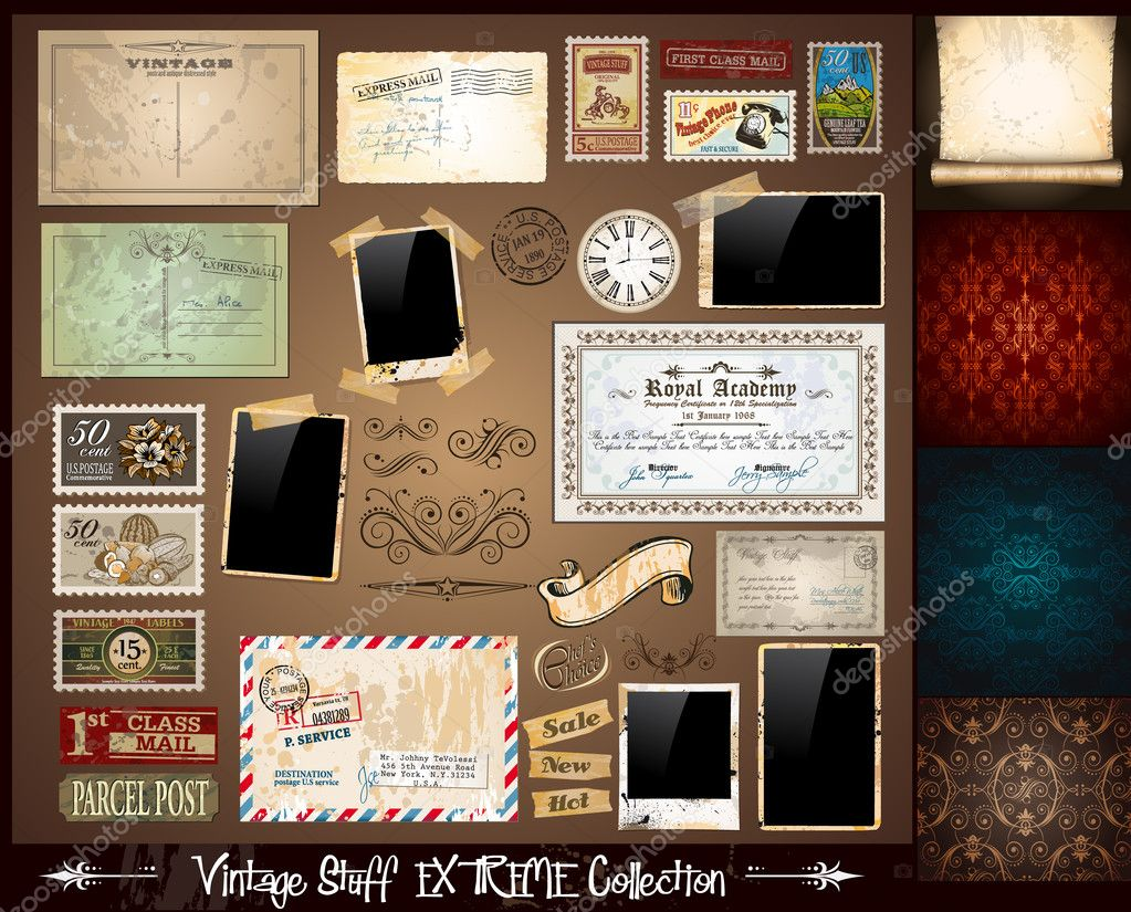 Vintage Stuff Extreme Collection - 3 seamless wallpaper, a parchment, photoframes, adhesive straps, vintage labels, postcards, Ribbon, postage stamps and so on — Imagen vectorial #6856427