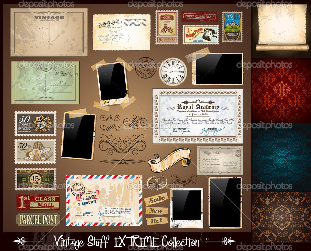Vintage Stuff Extreme Collection - 3 seamless wallpaper, a parchment, photoframes, adhesive straps, vintage labels, postcards, Ribbon, postage stamps and so on — Grafika wektorowa #6856427