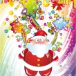 Santa Claus Background with Colorful Fantasy Elements — Stock Vector