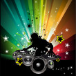 Stock Vector: Musci Flyer Background with DJ Silhouette
