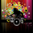 Stock Vector: Disco Event Background with colorful elements