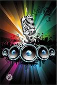 Disco Dancing Singer Night Background — Stock Vector