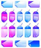 Etiquetas navideñas de colores precio promocional de ventas — Vector de stock