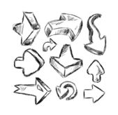 Collection of Hand Made Sketch Arrows — Stock Vector