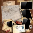 Vintage scrapbook composition - Stock Vector