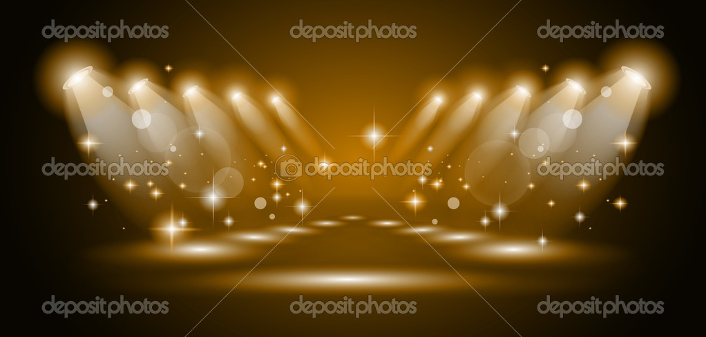 Magic Spotlights with Gold rays and glowing effect for or product advertising. Every lights and shadow are transparent. — Stock Vector #6937859