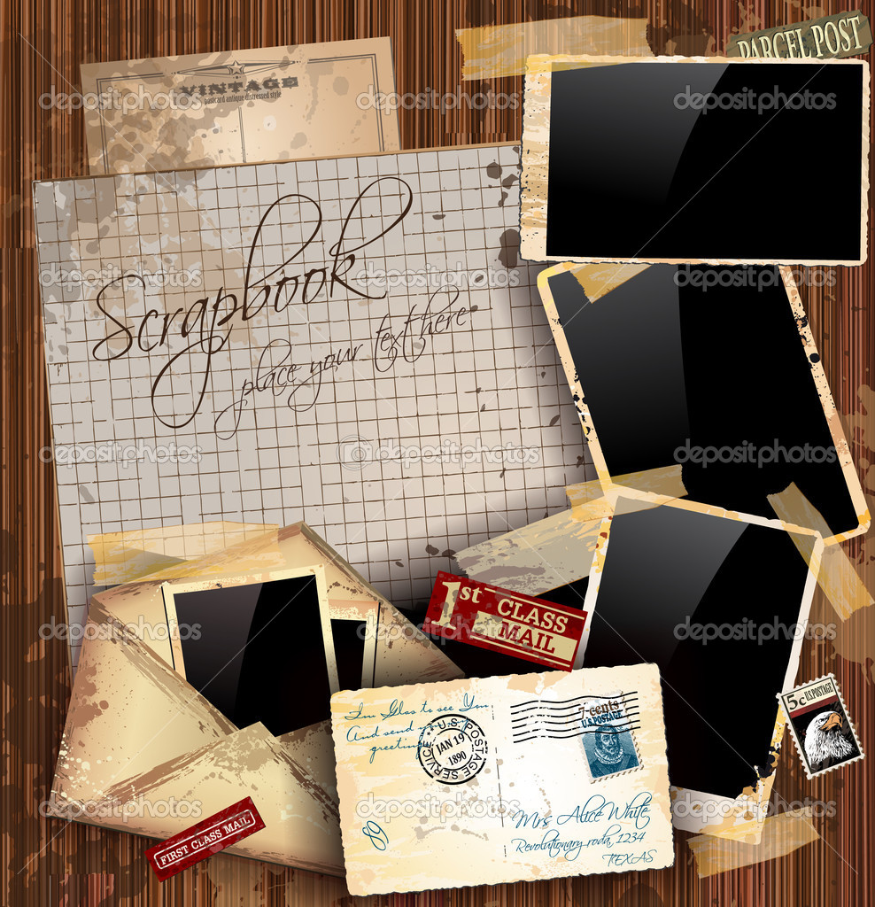 Vintage scrapbook composition with old style distressed postage design elements and antique photo frames plus some post stickers. Background is wood. — Stock Vector #6937870