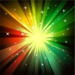 Explosion of red and green raylights — Image vectorielle