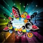 Rainbow Disco Music Background — Stock Vector #6946192