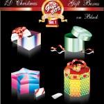Christmas Box Luxury Collection on Black - Set 1 — Stock Vector