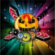 Halloween Rainbow Disco Music Background — Stock Vector