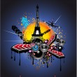 Stock Vector: Urban Style Paris Disco Background