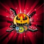 Halloween Rainbow Disco Music Background — Stock Vector #6946247