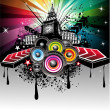 Stock Vector: Abstract Urban Disco Event Background