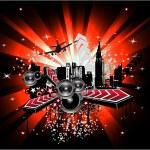 Fondo de música disco abstracto urbano — Vector de stock