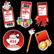 Santa Greetings Stickers for Tag and Card — Stock Vector