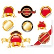 Royalty-Free Stock Vector Image: Set of Red Gold Label Stickers