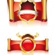 Stock Vector: Red and Gold Big Emblems
