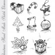 Hand Made Sketch of Christmas Design elements — Stock Vector