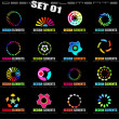 Abstract Design Elements - Set 1 on Black - Stock Vector