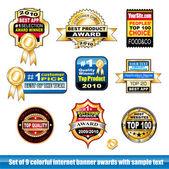 Set of internet certification award banner — Stock Vector