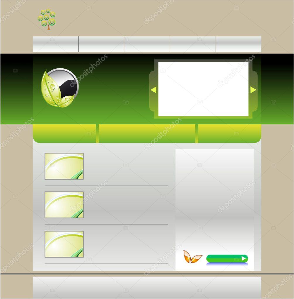 Chaise Cuisine Blanche Ikea : Modèle de site Web vert — Image vectorielle DavidArts © #6942386