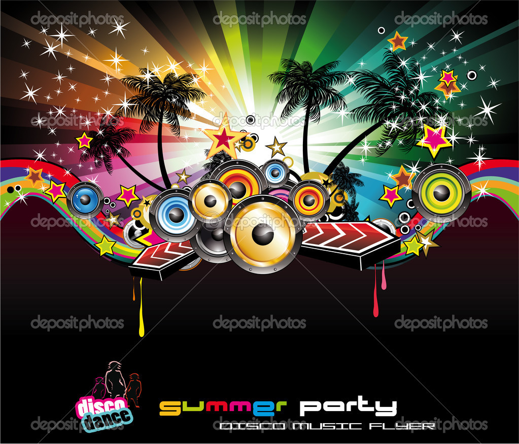 Tropical Summer Disco Nigh Event Background for Music Flyers — Stock Vector #6942513