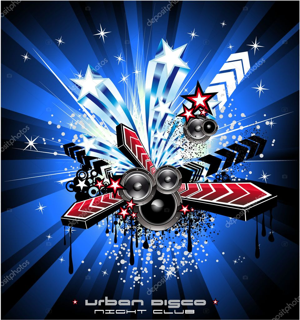 American Discoteque Event Background for Disco Flyers with USA Flag motive  Stock Vector #6946264
