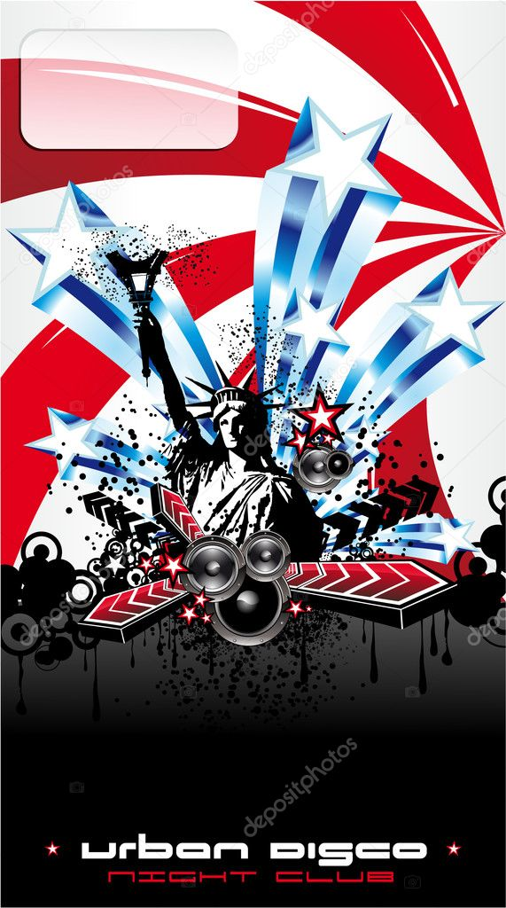 American Discoteque Event Background for Disco Flyers with USA Flag motive — Stock Vector #6946275