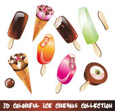 Ice Creams Icon Set — Stock Vector