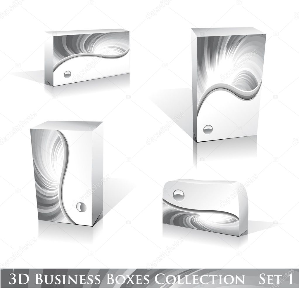 Software or Generic Product 3D Boxes Icon set with reflections and shadows — Stock Vector #6951150