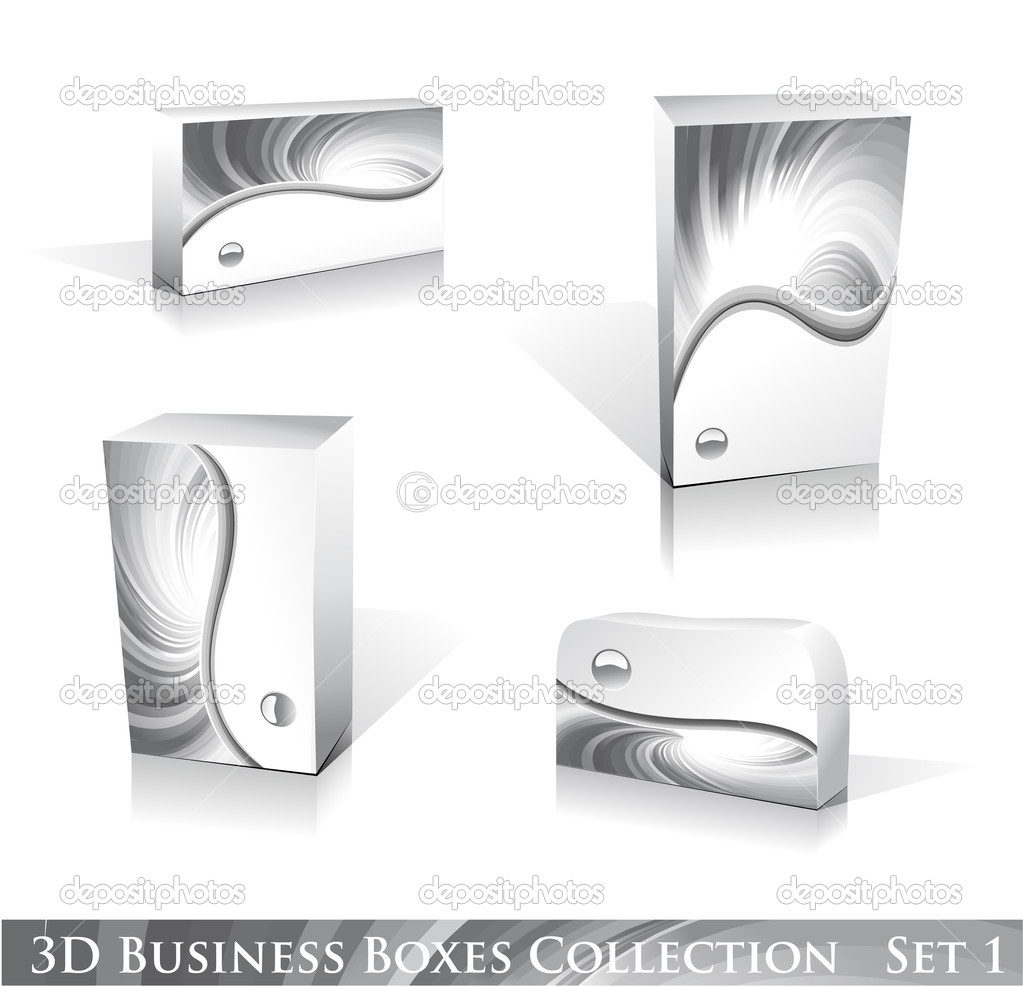 Software or Generic Product 3D Boxes Icon set with reflections and shadows — Imagen vectorial #6951150