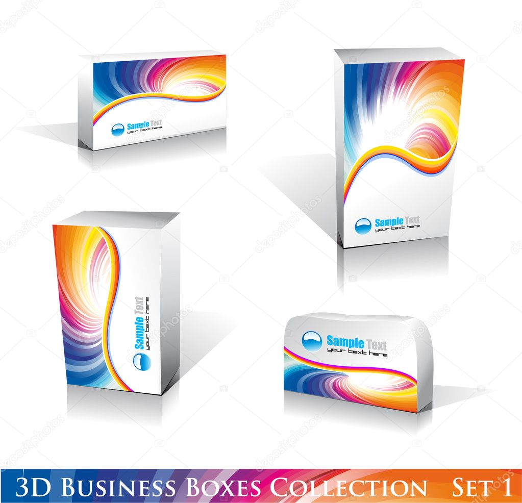 Software or Generic Product 3D Boxes Icon set with reflections and shadows — Stock Vector #6951349