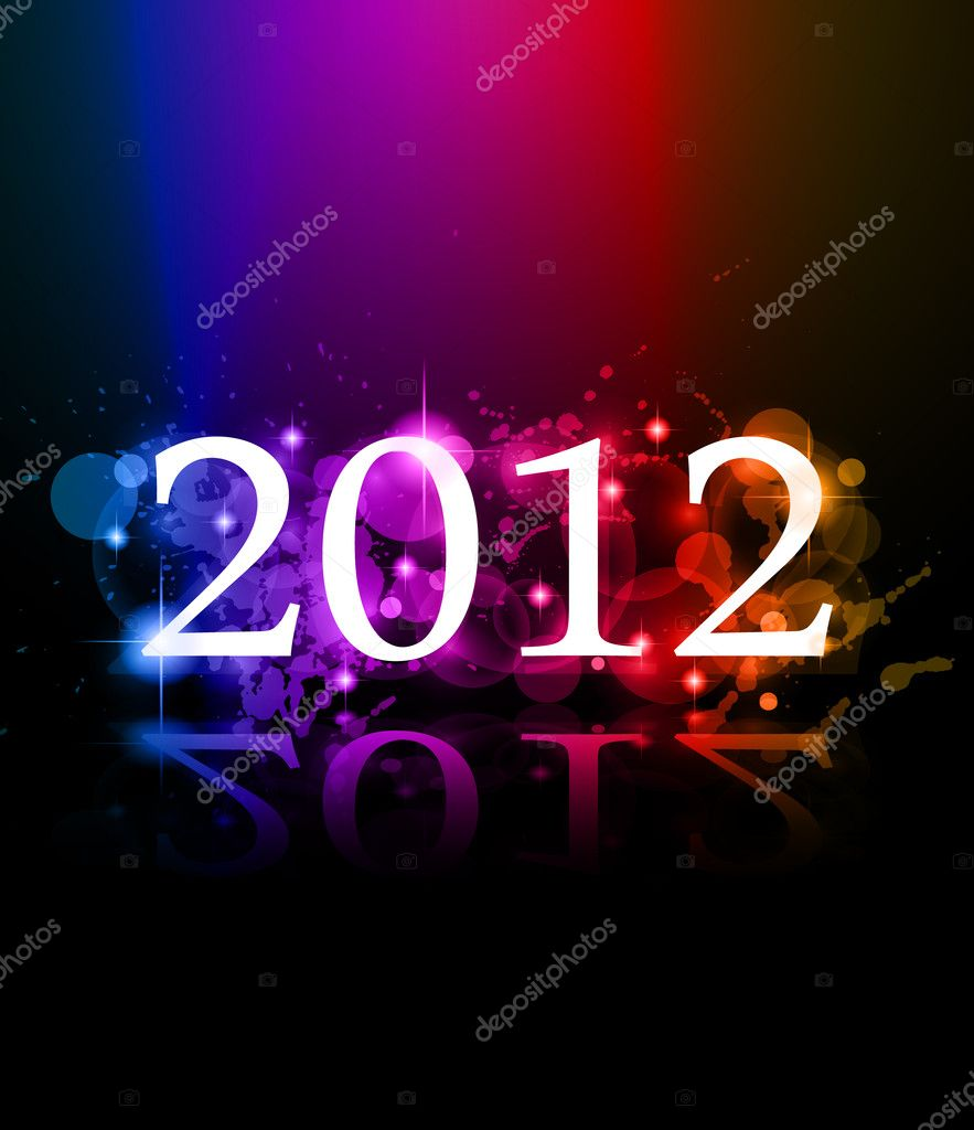 2012 New Year celebration background for cover, Flyer or poster with glitter elements and rainbow colours.  Stock Vector #7025031