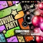 invitation de parti pour la fête de la musique disco de Noël — Vecteur