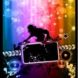 Disco Event Poster with a Disk Jockey — Stock Vector