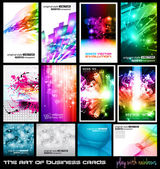 The art of business card Collection: play with rainbows. — Stock Vector