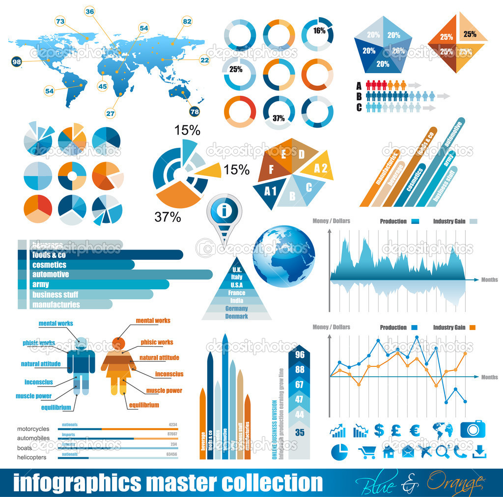 Premium infographics master collection: graphs, histograms, arrows, chart, 3D globe, icons and a lot of related design elements. — Stock Vector #7370913