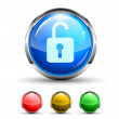 Unlock Cristal Glossy Button - Stockvektor