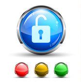 Desbloquear botón brillante cristal — Vector de stock