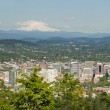 Stock Photo: Portland Oregon Cityscape and Mount Hood