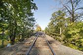 Train Track on Wooden Bridge — Stock Photo