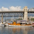 Burrard Street Bridge by Fishermen's Wharf in Vancouver BC — Stock Photo