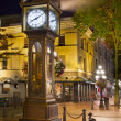 Steam Clock in Gastown Vancouver BC at Night - Stock Photo