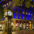 Steam Clock in Gastown Vancouver BC at Night 2 - Stock Photo